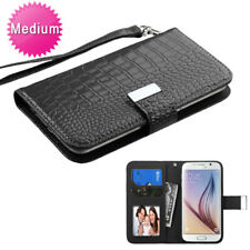 MyJacket Wallet Flap Slim Case ID Card Slots Black Crocodile For Cell Phones