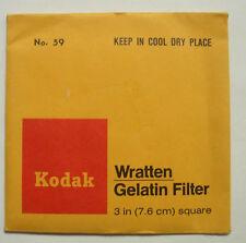 Kodak wratten GELATINA Filtro No 59 7.6cm OR 75mm Cuadrado