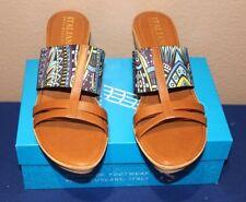 ITALIAN SHOEMAKER SLIP-ON WEDGE SANDAL NEW IN BOX BLUE MULTI MSRP $69.00 SIZE 12