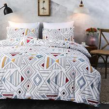 Geometric Print Duvet Comforter Cover Soft Bedding Set 100% Washed Microfiber