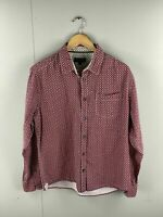 Just Jeans Men's Long Sleeve Shirt with Pocket - Size Large - Burgundy Geometric
