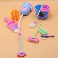 1SET 9pcs Mini Doll Accessories Household Cleaning Tools for Barbie Dollhouse