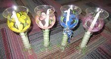 NEW SET OF 4 CELEBRATIONS BY LILLIAN VERNON FLOATING CANDLESTICK FLORAL GLASS