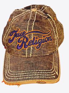 TRUE RELIGION Adjustable Cap Hat Trucker Linen Cotton Stitched Distressed RARE