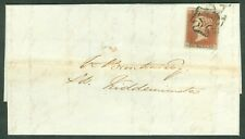 SG 8 1d red brown plate 20. On entire addressed to Kidderminster. Stamp 4...