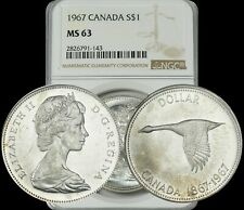 1967 CANADA SILVER GOOSE $1 DOLLAR BU UNCIRCULATED NGC MS63 HIGH GRADE COIN