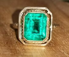 VINTAGE ANTIQUE 10K YELLOW GOLD  RING 2.98CT. GEM GREEN EMERALD