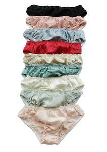 6 Pieces 100% Pure Silk Women's Knickers Panties/Briefs Size S M L XL 2XL 3XL