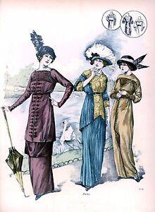 Edwardian clothing dresse's hats and Fashion Art Print 10x8 home decor