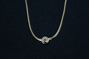 Christian Dior Women's Ladies blue & stone Gold Necklace Pendant Signed Dior