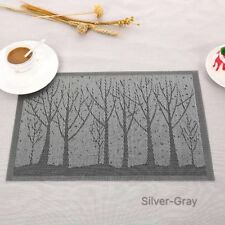 4pcs Silver-Gray Vinyl PVC Placemat Dining Table Weave Woven Rectangle Mat
