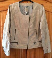 Banana Republic Beige Leather Biker Jacket Smart Casual Size XL / UK 18