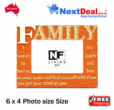 Vida FAMILY Timber 6 x 4 Size Photo Frame Orange by NF Living - New!