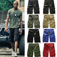 Men's Cargo Vintage Shorts Casual Army Combat Multi-pocket Military Trouser Pant