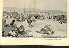 Guerre Gréco-Turque évacuation la ville Volos Artillerie jetée mer GRAVURE 1897