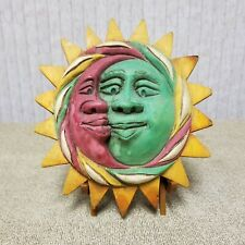 Vintage Hand Carved Sun and Moon Wall Decor - Red Greeen & Yellow