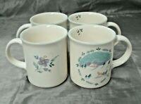 Pfaltzgraff APRIL Set of 4 Christmas Coffee Tea Mugs Floral Stoneware Aqua USA