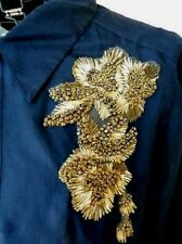 FAB VERA WANG COUTURE LBL SILK BLOUSE JACKET PLEAT DTLNG BEADED APPLIQUE NWT 6