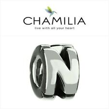 CHAMILIA Sterling Silver Letter N Bead Charm Retired New