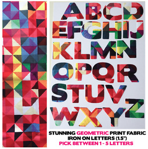 "Fabric Iron On Letters - Geometric Pattern - 1.5"" Cotton 1-5 Letters for £3!!"