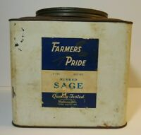LARGE Old Vintage 1940s FARMERS PRIDE GRAPHIC SPICE TIN 3 LB TERRE HAUTE INDIANA