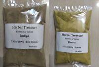 Organic Henna powder & Indigo powder 1lb each for hair Color Express Shipping