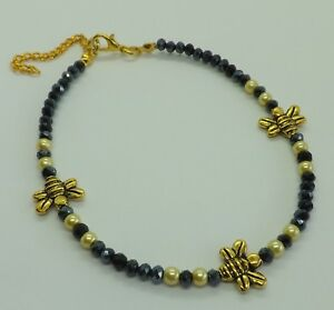 Black Crystal Beads Gold Tone Honey Bees Anklet Ankle Bracelet Beach Jewellery