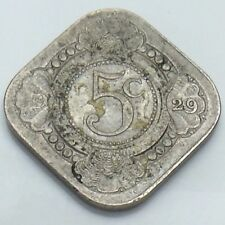 1929 Nederland Netherlands Five 5 Cents Dutch Circulated Coin E876