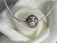 925 Sterling Silver Jewellery Chain Necklace Circle Geometric Frosted Ball boxed