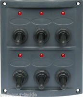 Boat Caravan Switch Panel 12 Volt LED 6 Gang Dark Grey Waterproof Red LED Lights