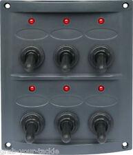 Boat Caravan Switch Panel 12 Volt LED 6 Gang Dark Grey Waterproof Red LED Lights