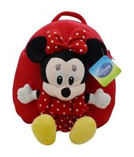 """Disney Minnie Mickey Mouse Stuffed Plush Toy Kids Schoolbag Backpack H11"""" Red"""