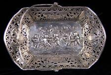 Antique German Handled Basket Repousse Cherubs Putti Dancing .800 Solid Silver