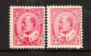 Canada 1903 Edward VII 2c carmine & rose carmine #90,i  MNH F $175.