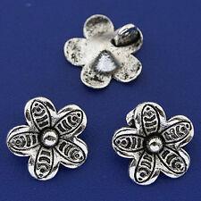 25pcs dark silver tone flower charms h3225