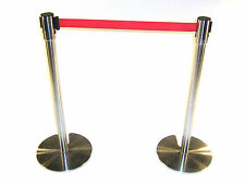 LG-18D Stainless Steel Stretch Barriers with Red Webbing, 2 meters long