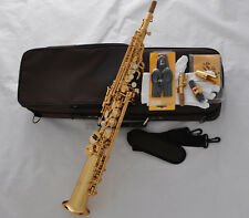 Professional TaiShan Gold Bb Soprano Sax Straight Saxophone High F# 2 Necks NEW