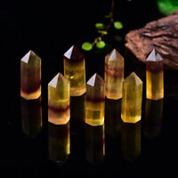 Natural Yellow Fluorite Quartz Gemstone Hexagnal Wand Point Reiki Healing45-55mm