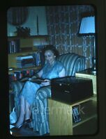 1950s red border Kodachrome Photo slide Lady reading book Radio or record Player