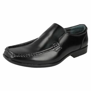 Mens Hush Puppies Black Leather Slip On Formal Shoes COACH IIS