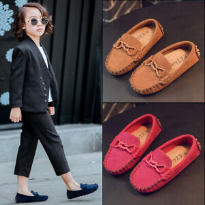 Kids Boys Girls Faux Suede Shoe Slip On Moccasins Oxford Casual Breathable Shoes
