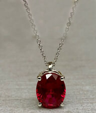 2.00 CT Lab Created Oval Ruby Pendant with Free 18 Chain