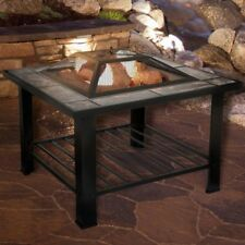 Outdoor Fire Pit Table Marbled Tile Top Wood Burning Patio Fireplace Bowl Heater