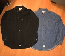 2 Vintage Levi's Button Up Shirt Jacket Chambray Denim Jean Large Horn Double 42