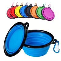 Cat Dog Bowl Food Water Feeding Silicone Collapsible Portable Foldable Travel