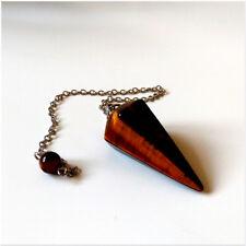 Natural Tigers Eye Crystal Gemstone Faceted Pendulum Point Dowsing Dowser