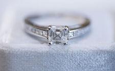 0.73ct Asscher Cut Diamond 18K white gold Engagement Ring