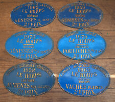 6 french vintage AGRICULTURE plaques trophy award ANIMALS prize SIGN cows