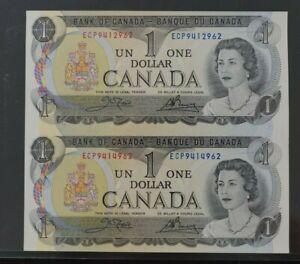 Canada 1973 $1 un-cut pair ch-UNC condition Crow Bouey Sign (k408)