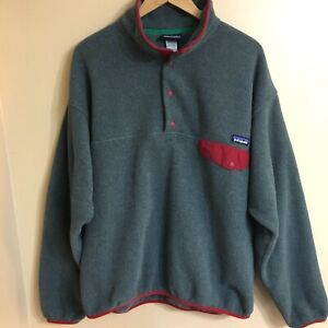 Patagonia mens xl synchilla snap t fleece pullover jacket grey red